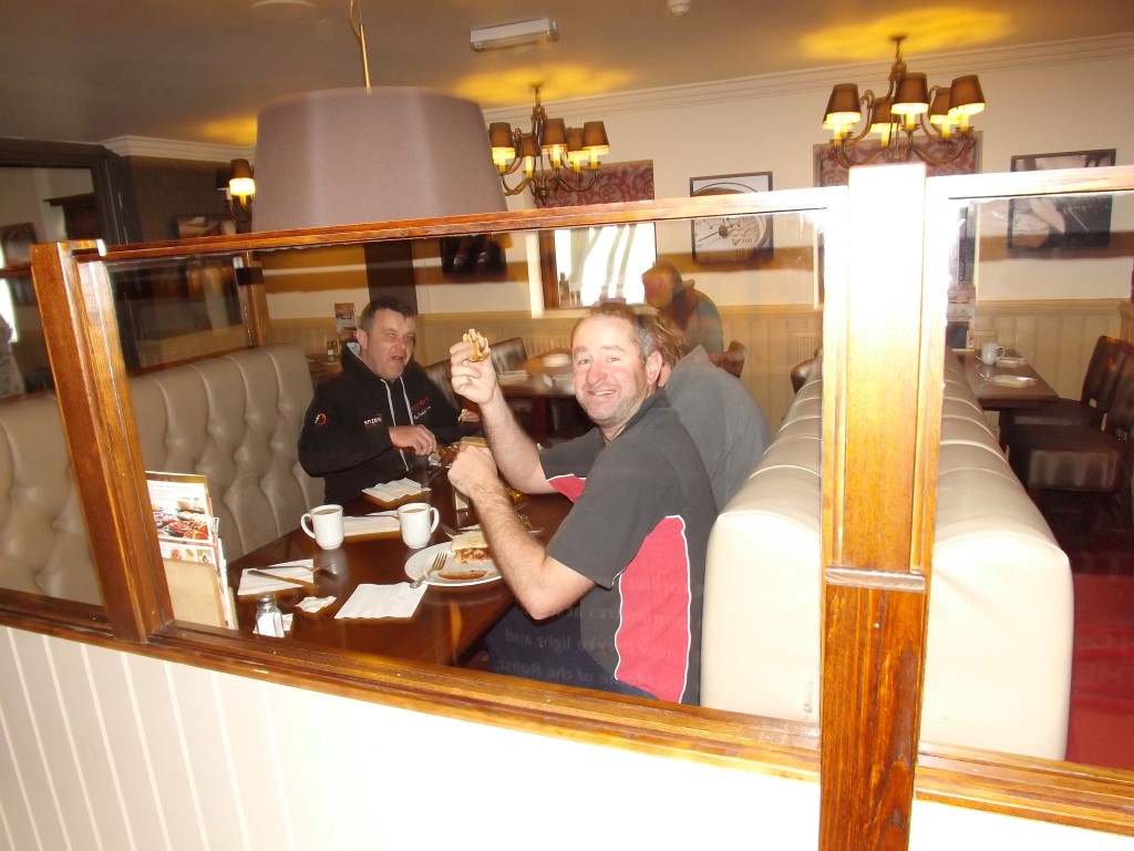 Phil Ringer enjoying breakfast at the Car Mill Easter Event.JPG